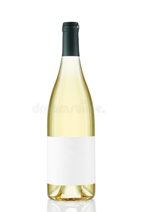 White wine bottle with blank label isolated on white background stock photography
