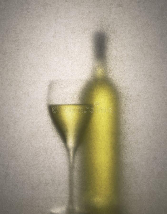 White Wine Bottle Glass Background royalty free stock images