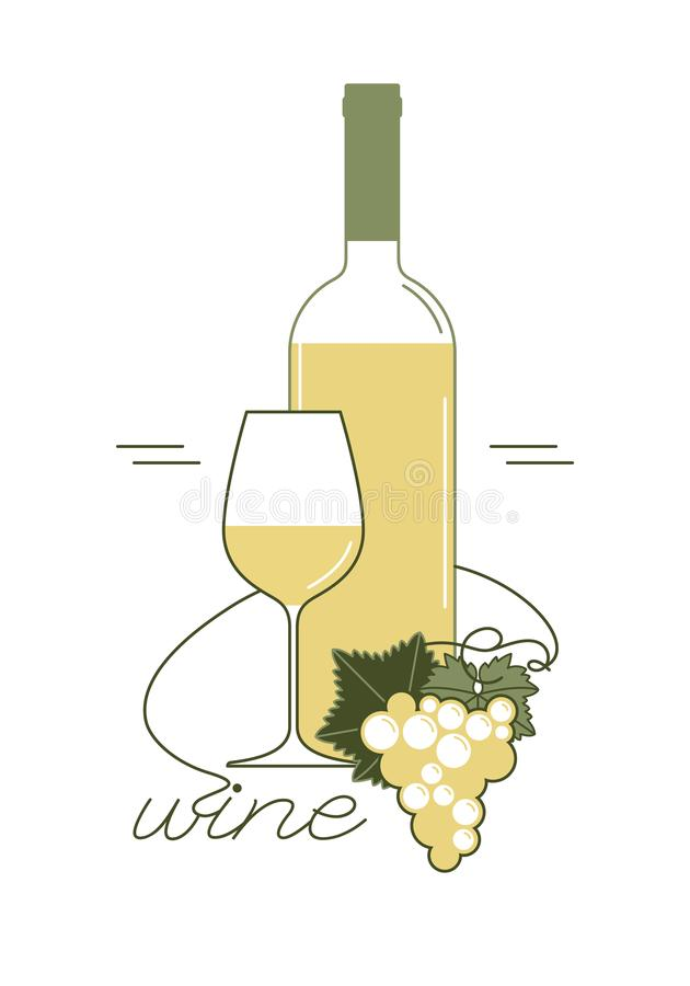 White wine. A bottle, a wine glass. Vector. stock image