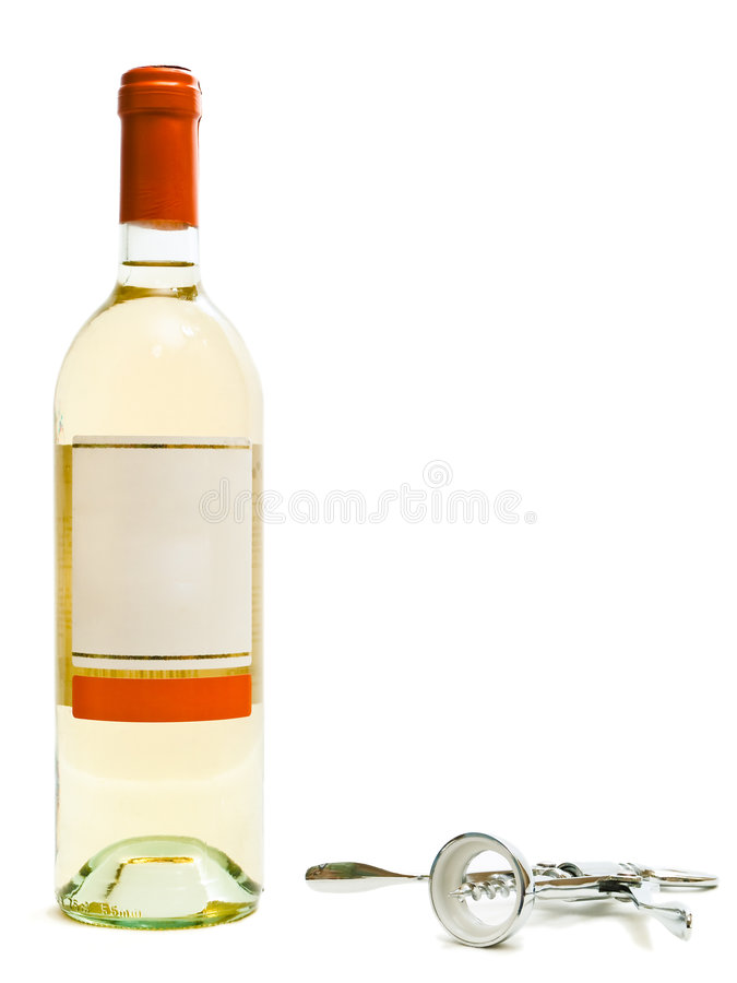 Download White Wine Bottles With Corkscrew Stock Photo - Image: 7461246