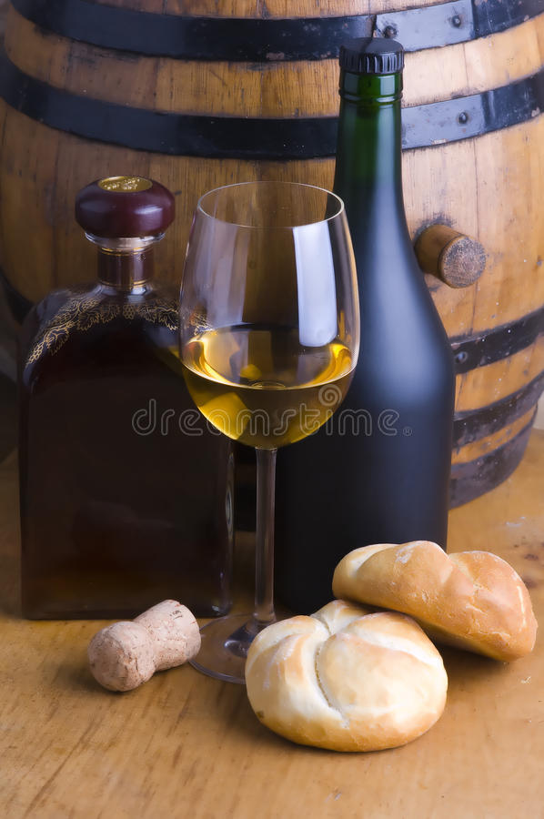 Download White wine and bread stock image. Image of liquor, fall - 17884825