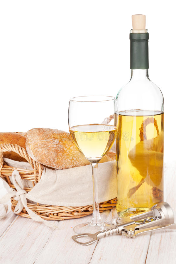 White wine and bread royalty free stock images
