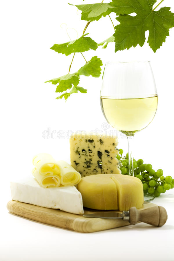 White wine and cheese stock image