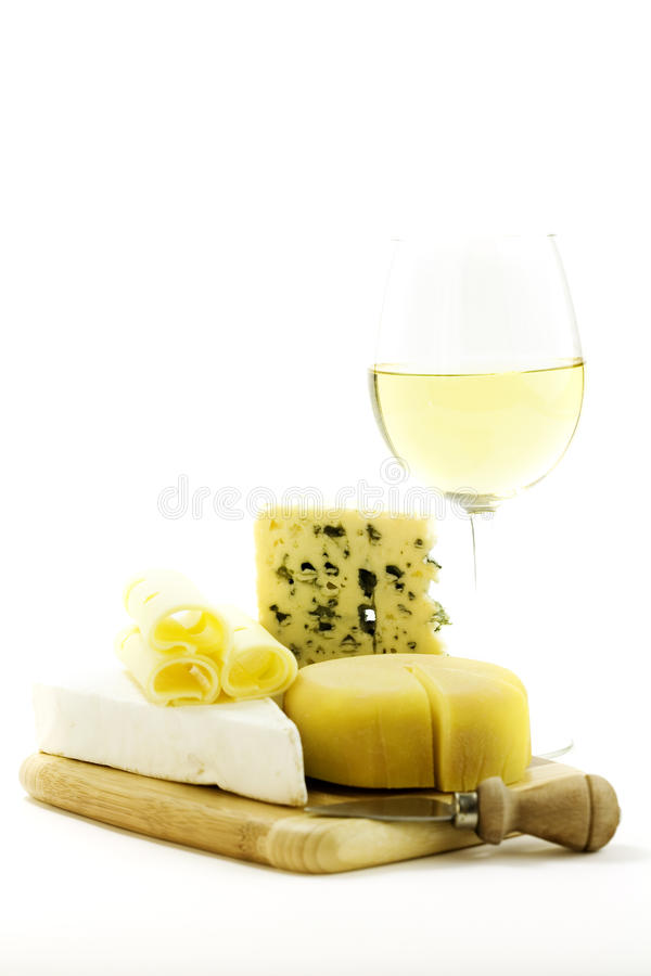 White wine and cheese stock photos