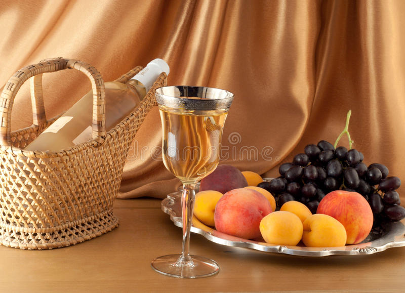 White wine composition royalty free stock photography