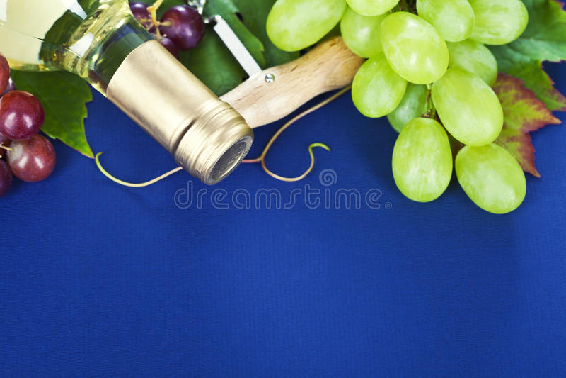 White wine and fresh grape royalty free stock photo