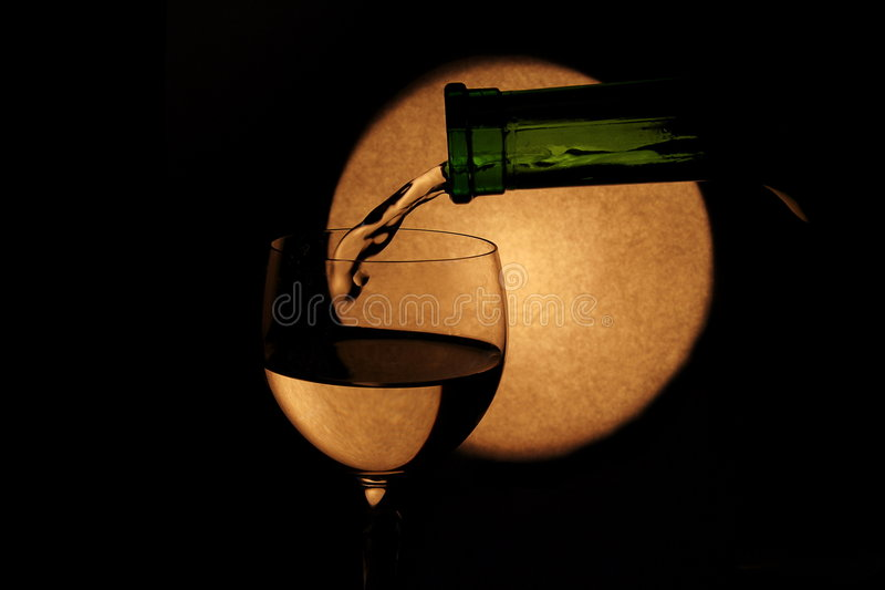 White wine and full moon royalty free stock photo