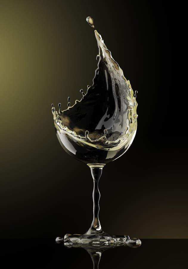 White wine glass on black background stock illustration