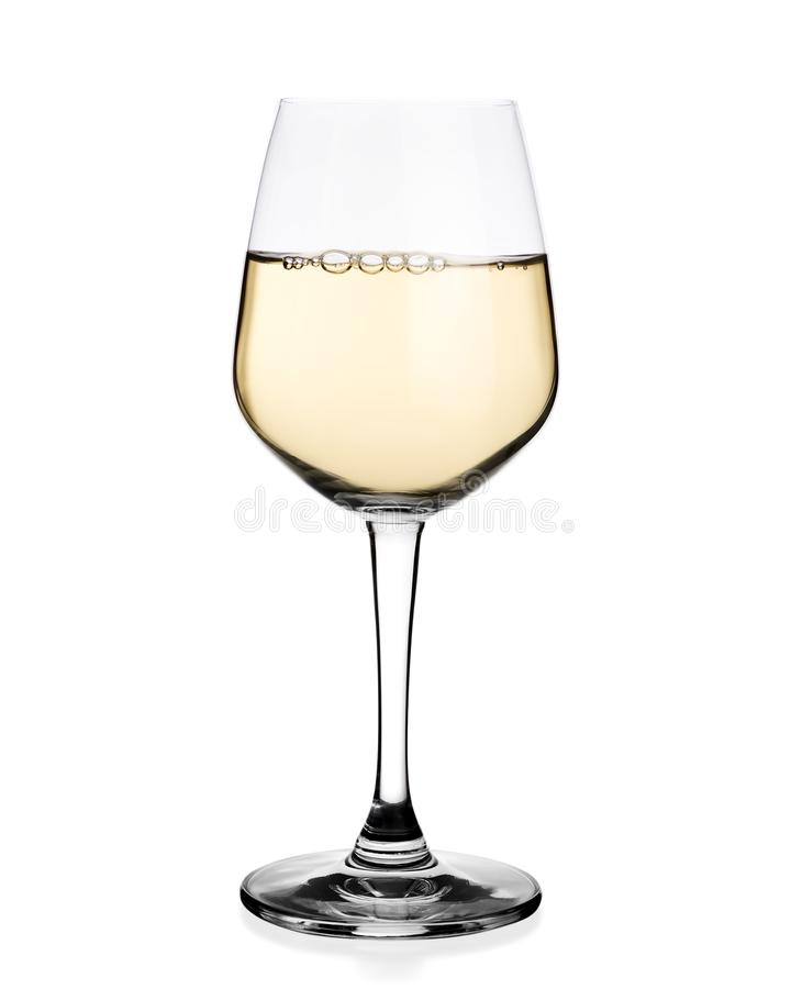 White wine in glass isolated. On white background royalty free stock photo
