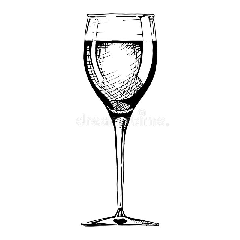 White wine glass vector illustration