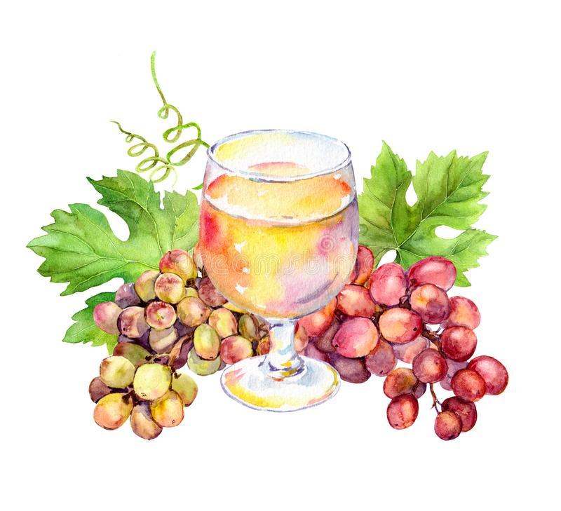 White wine glass, vine leaves and grape berries. Watercolor. White wine glass with vine leaves and grape berries. Watercolor stock illustration