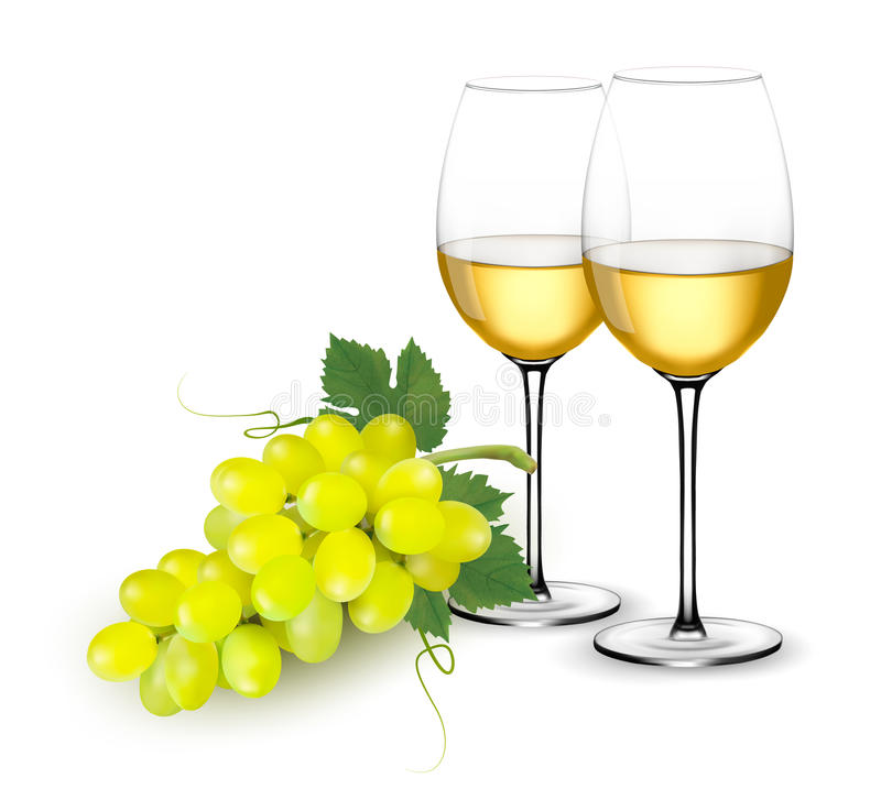 Free White Wine Glasses And Grapes. Stock Photography - 91874822
