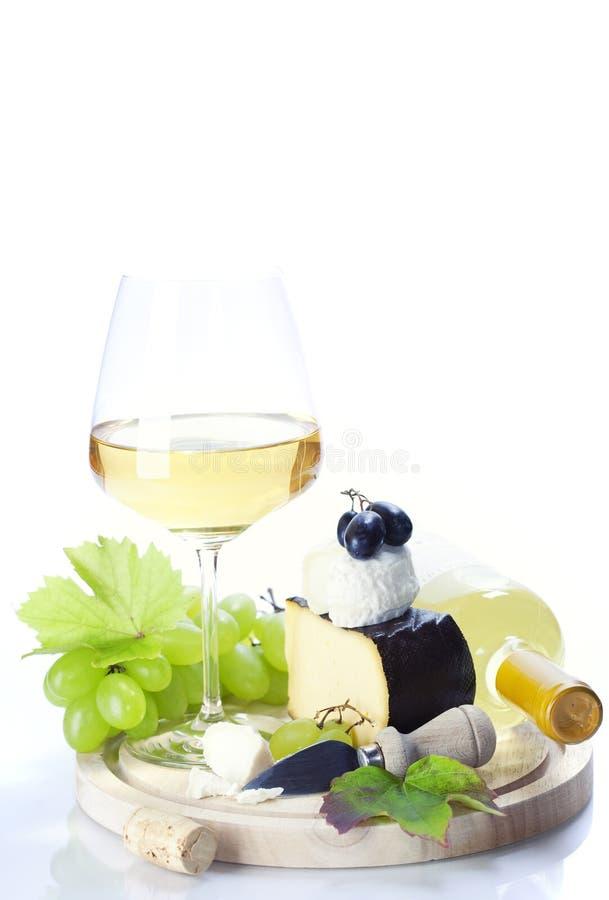 White wine, grape and cheese stock photo