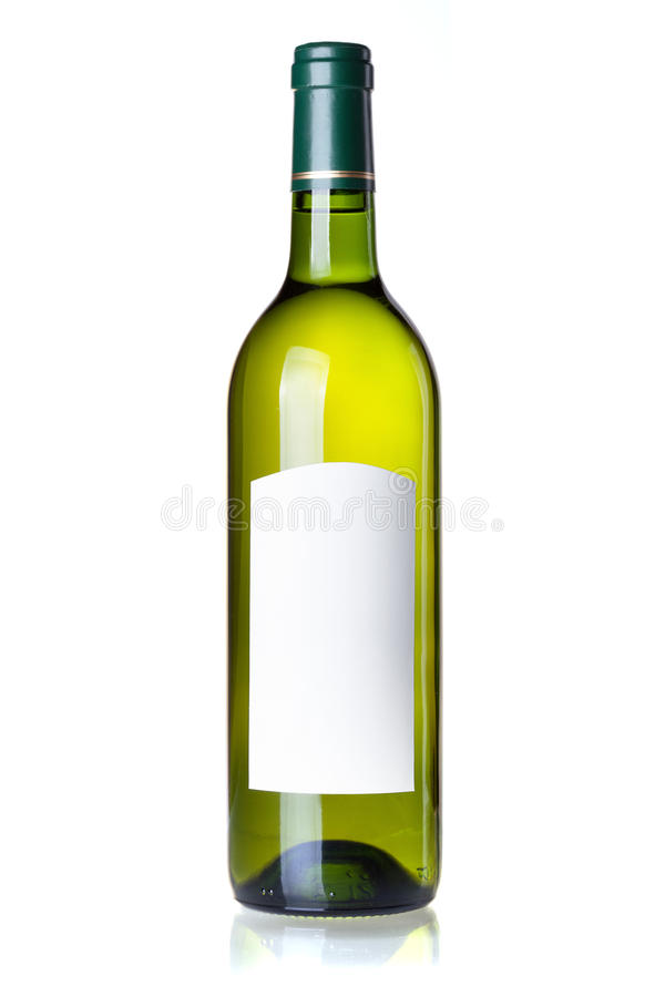 White wine in green bottle with blank label stock photography