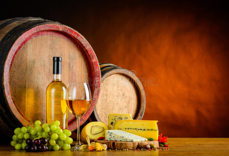 White Wine and Mold Cheese royalty free stock photo