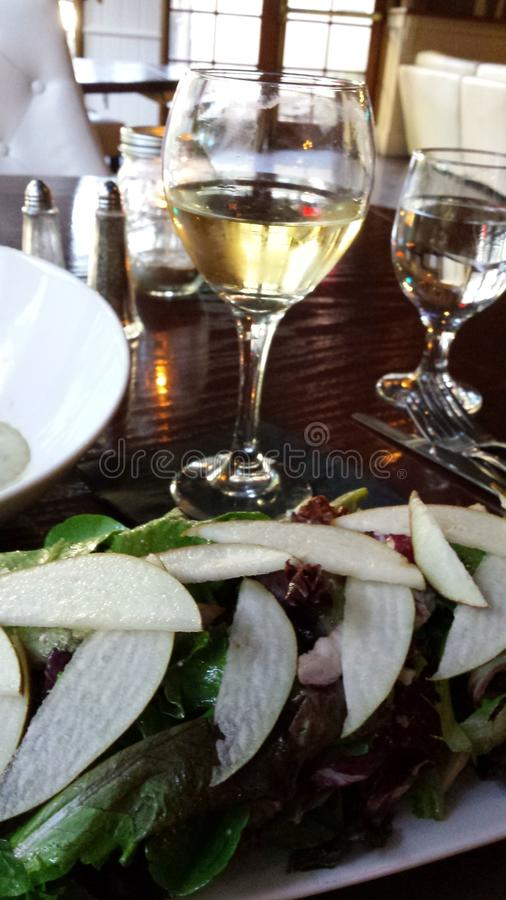 Download White wine and  pear salad stock photo. Image of white - 54772020