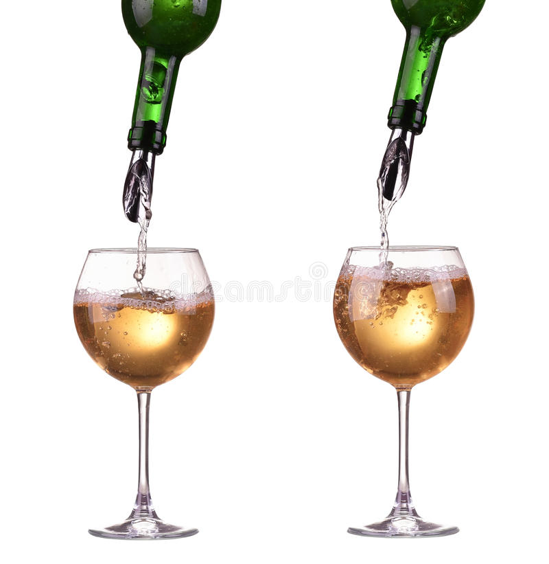 Free White Wine Pouring In A Two Glass From A Bottle, Dispenser On The Bottle, Wine Jet, Isolated On White Stock Photo - 51373080