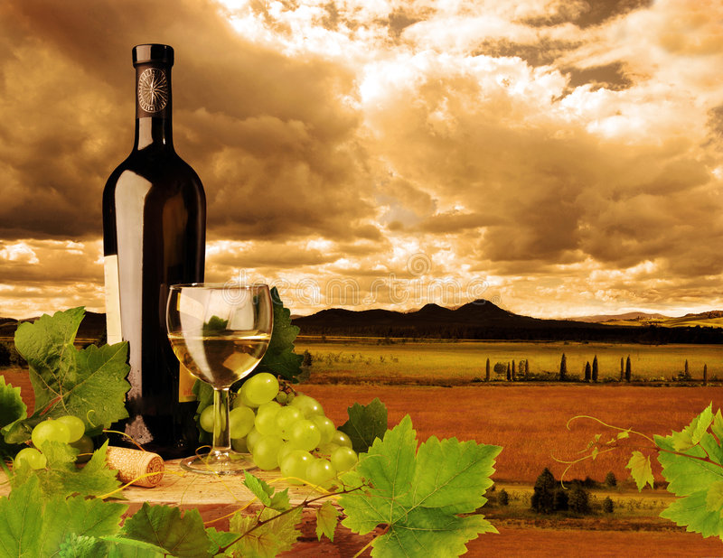 White wine and sunset landscape royalty free stock photo