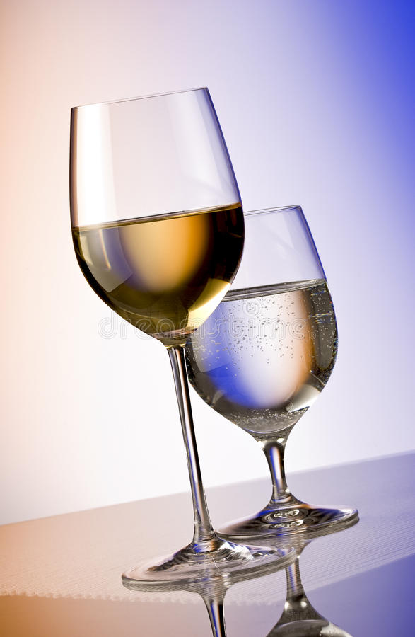 White wine and water royalty free stock photo