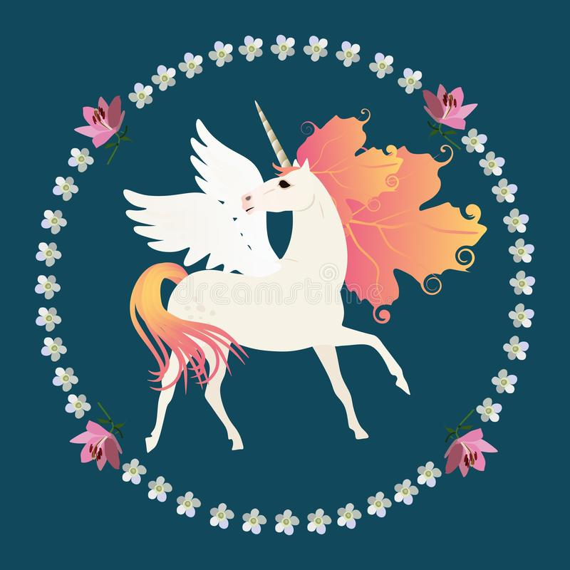 White winged unicorn with mane in shape of autumn leaves in floral round frame on dark green background. Print for T shirt, card.  royalty free illustration