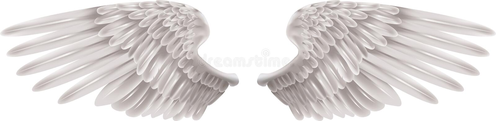 White Wings. Illustration of a pair of outstretched beautiful white wings