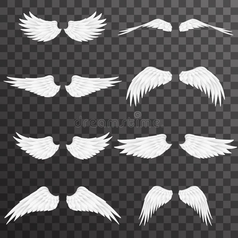 White wings bird animal angel fly 3d realistic design decoration element set transparent background vector illustration stock illustration