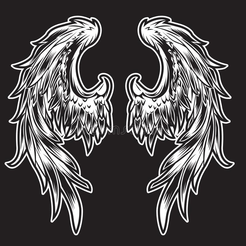 Free White Wings Bird Feather On Black Background  Tattoo Vector Stock Image - 188951271