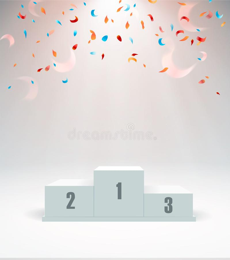 White winners podium with red carpet and confetti. Stage for awards ceremony. Pedestal. Spotlight. Vector illustration. Eps 10 vector illustration