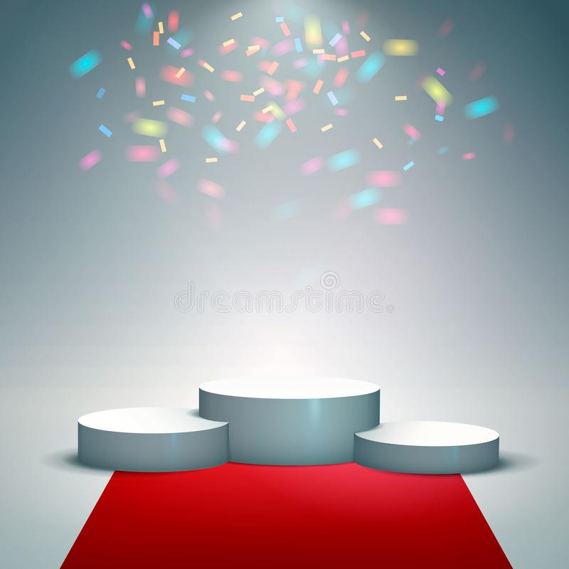 White winners podium with red carpet and confetti. Stage for awards ceremony. Pedestal. Spotlight. Vector illustration. Eps 10 stock illustration