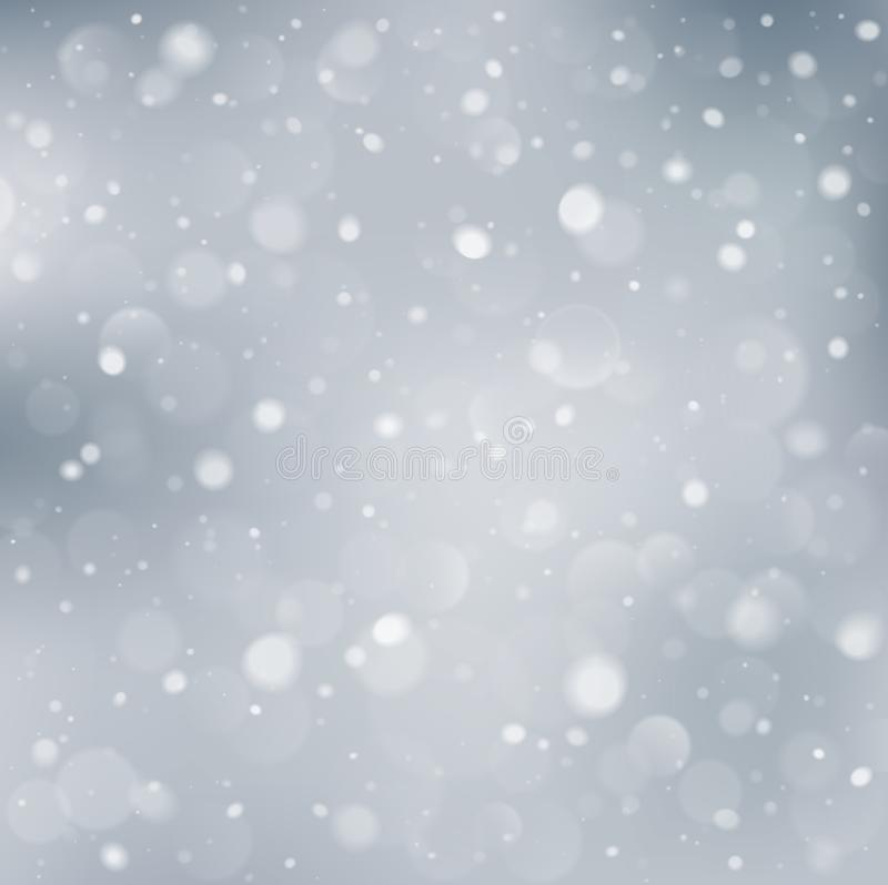 White winter background with snowflakes and bokeh lights. Vector illustration royalty free illustration