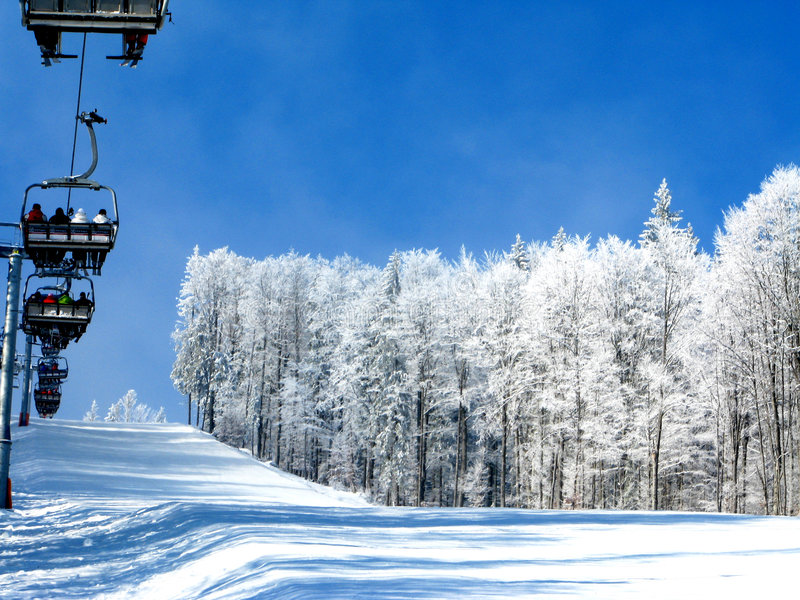White winter in the mountains ( ski resort ) royalty free stock photography
