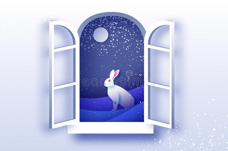 White winter Rabbit in paper cut style. Merry Christmas greetings card. Winter season holidays. Happy New Year. Blue vector illustration