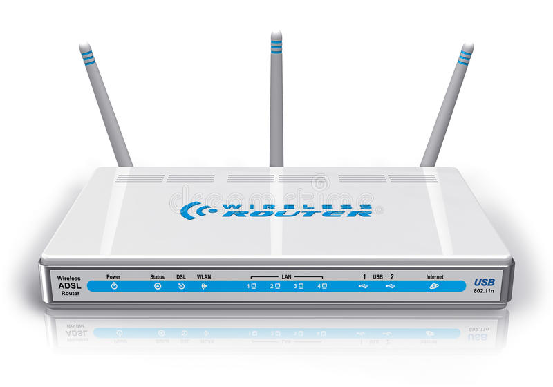 Download White wireless ADSL router stock illustration. Illustration of object - 18517513