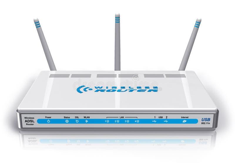 White wireless ADSL router stock illustration