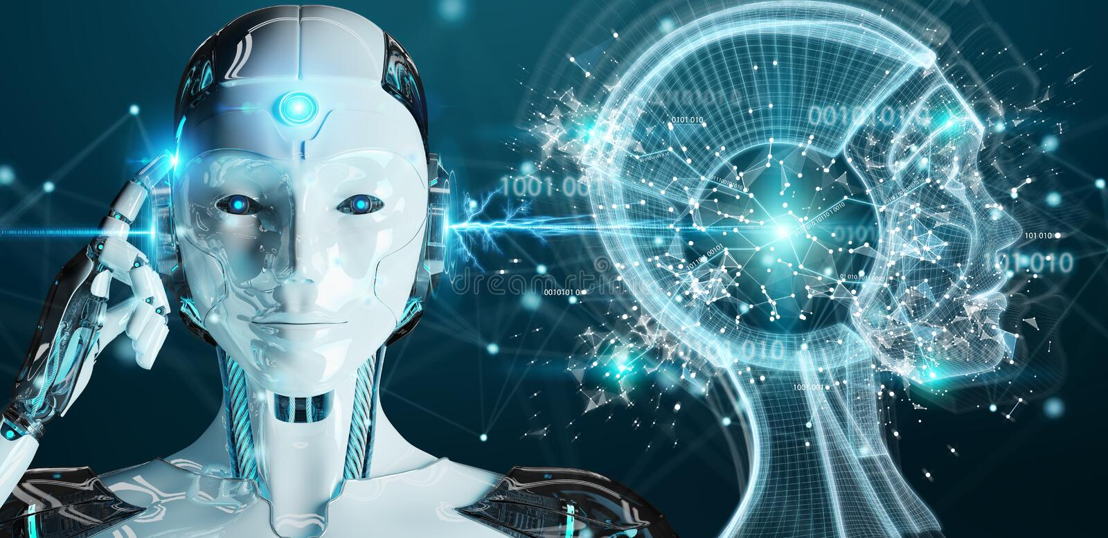 White woman cyborg creating artificial intelligence 3D rendering. White woman cyborg on blurred background creating artificial intelligence 3D rendering vector illustration
