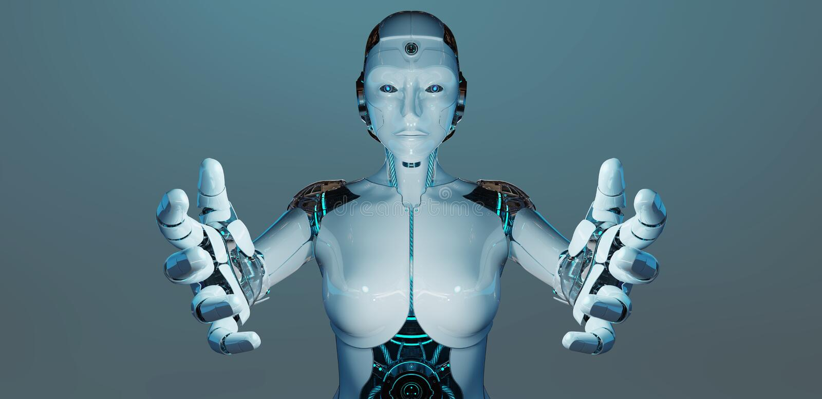 White woman cyborg opening her two hands 3D rendering stock illustration