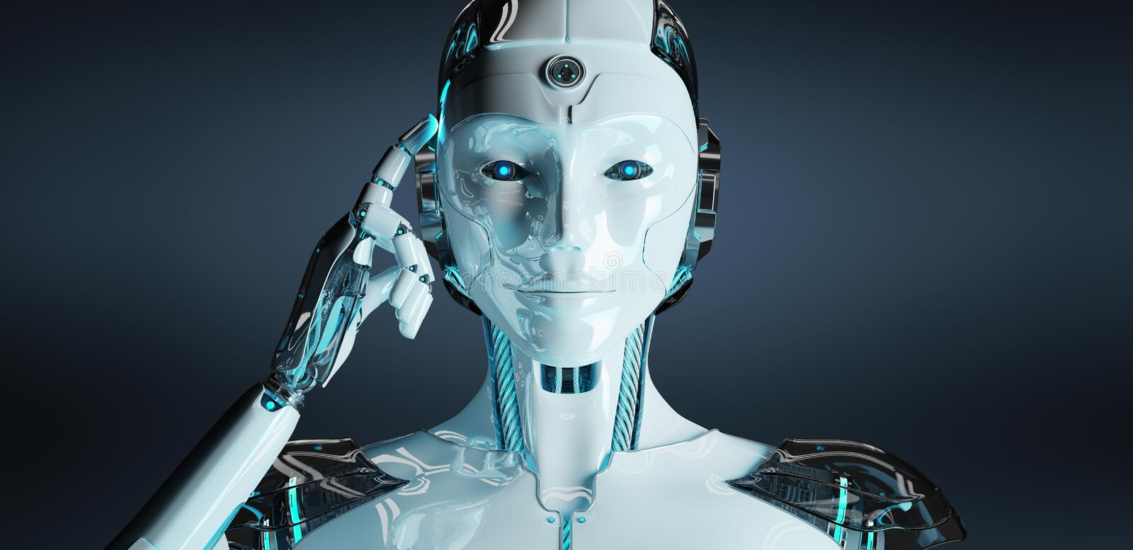 White woman cyborg thinking and touching her head 3D rendering stock illustration