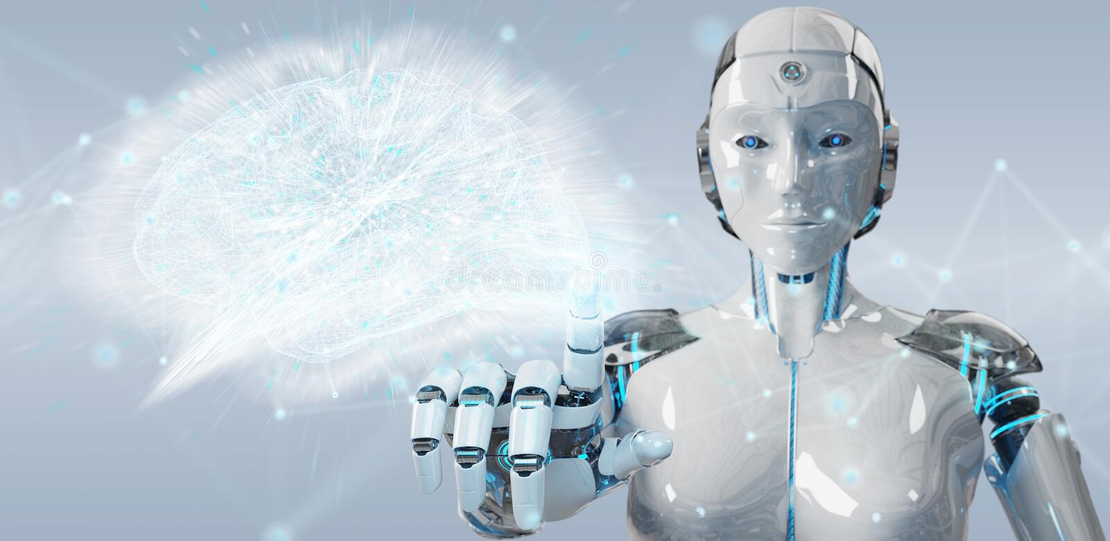 White woman humanoid creating artificial intelligence 3D rendering stock illustration
