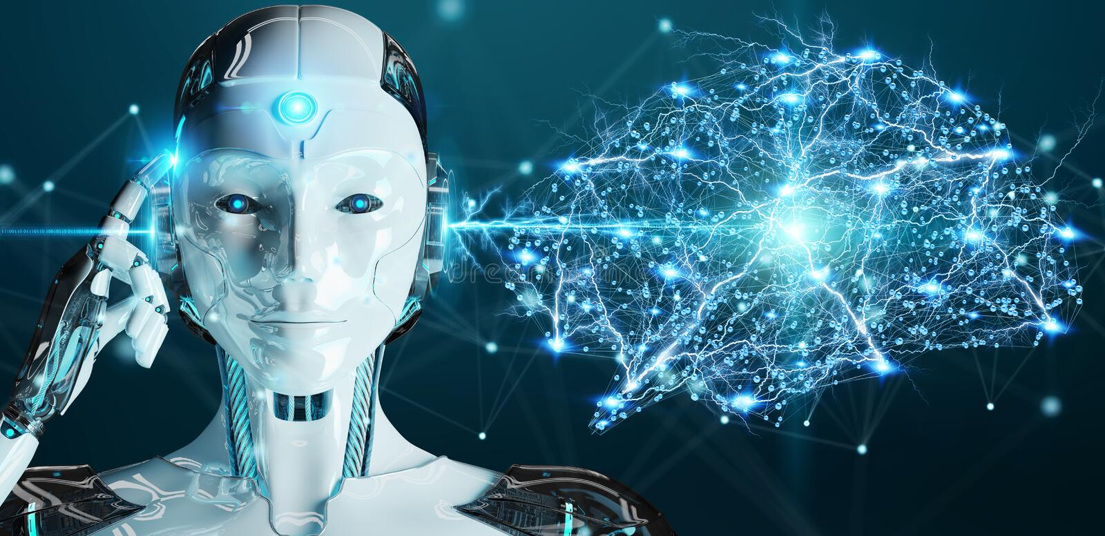 White woman humanoid creating artificial intelligence 3D rendering. White woman humanoid on blurred background creating artificial intelligence 3D rendering vector illustration