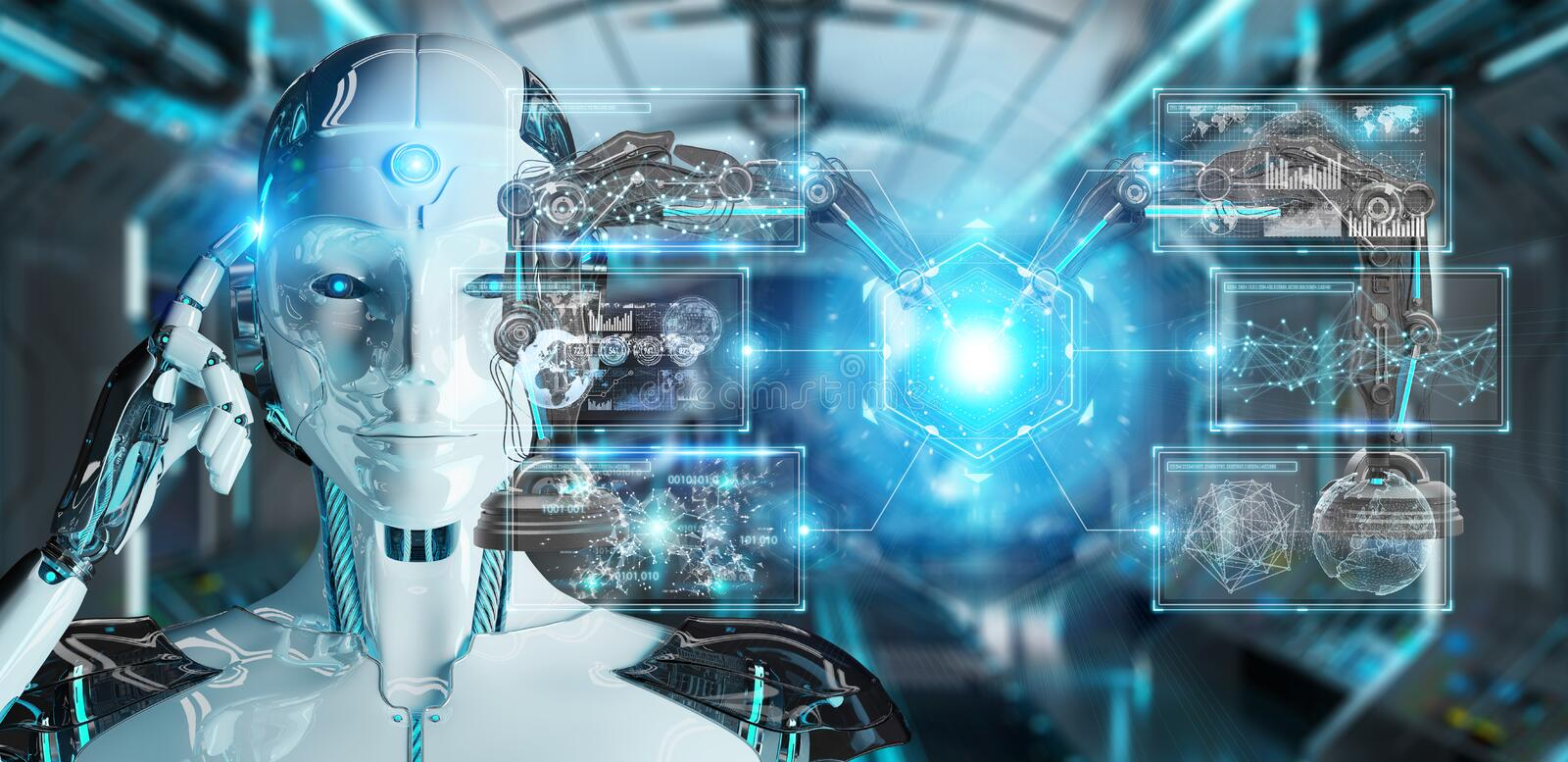 White woman robot using robotics arms with digital screen 3D rendering stock illustration