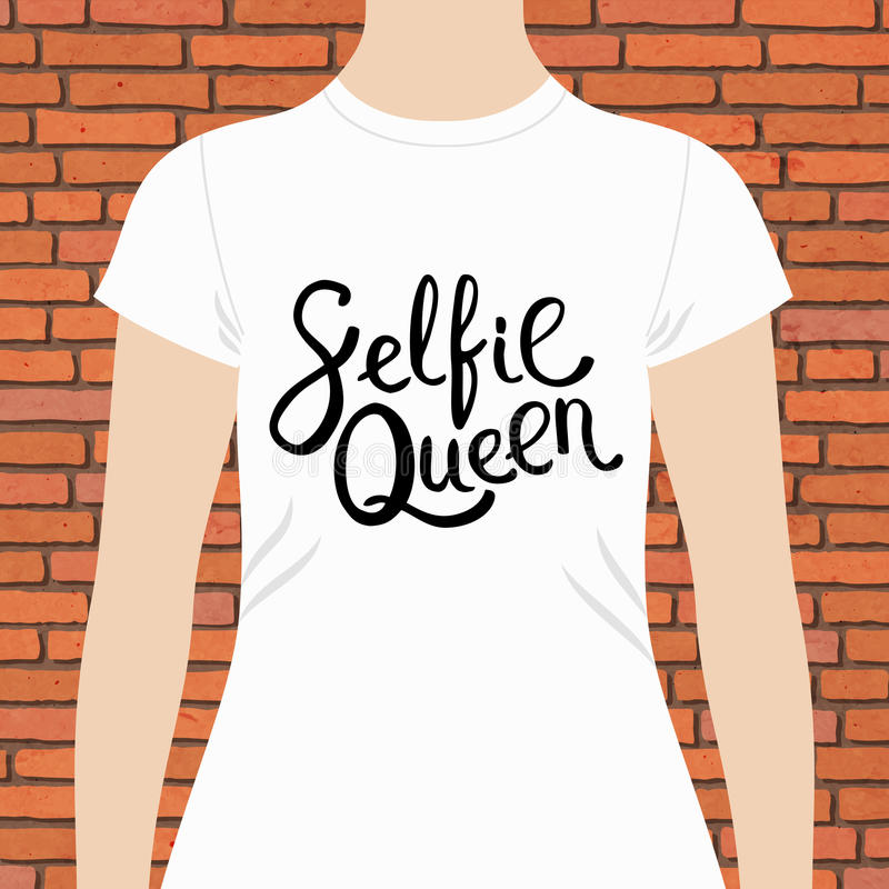White Woman Shirt with Selfie Queen Texts Print royalty free illustration
