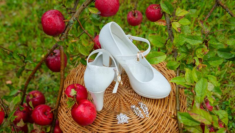 White women`s shoes with on the background and wedding decorations on the background of apples. White women`s shoes with on the background and wedding royalty free stock photos