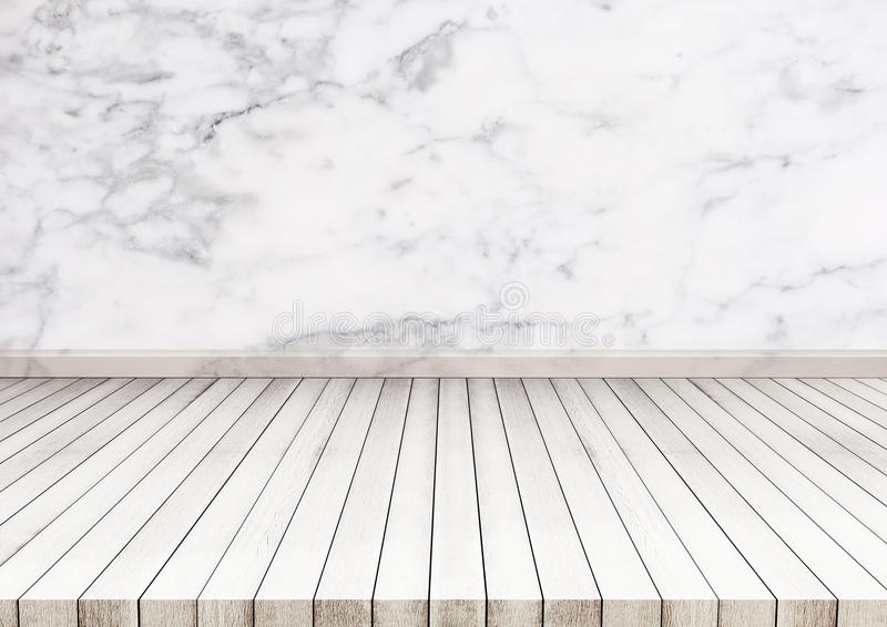 White wood floor with marble stone wall texture. texture background. Also used for display or montage your products stock photography