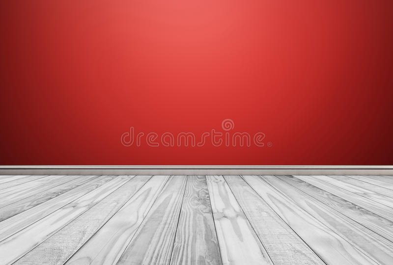 White wood floor panels with red wall background stock images
