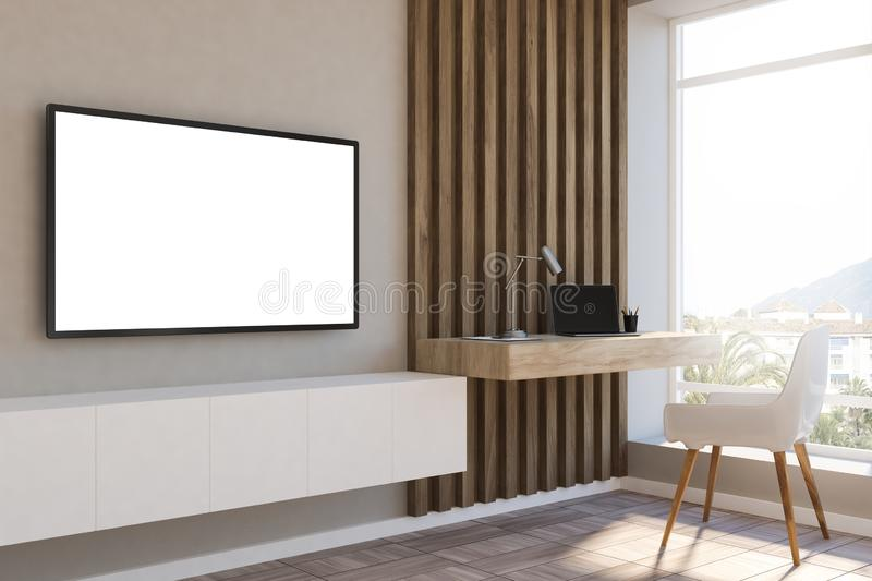 White and wood loft home office, mockup tv royalty free illustration