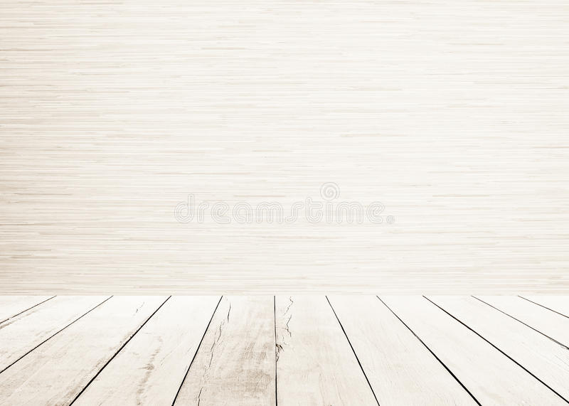 White wood planks floor with wood wall Interior and white wooden floor sepia tones. Wall texture background. Stage wood. House interior design royalty free stock image