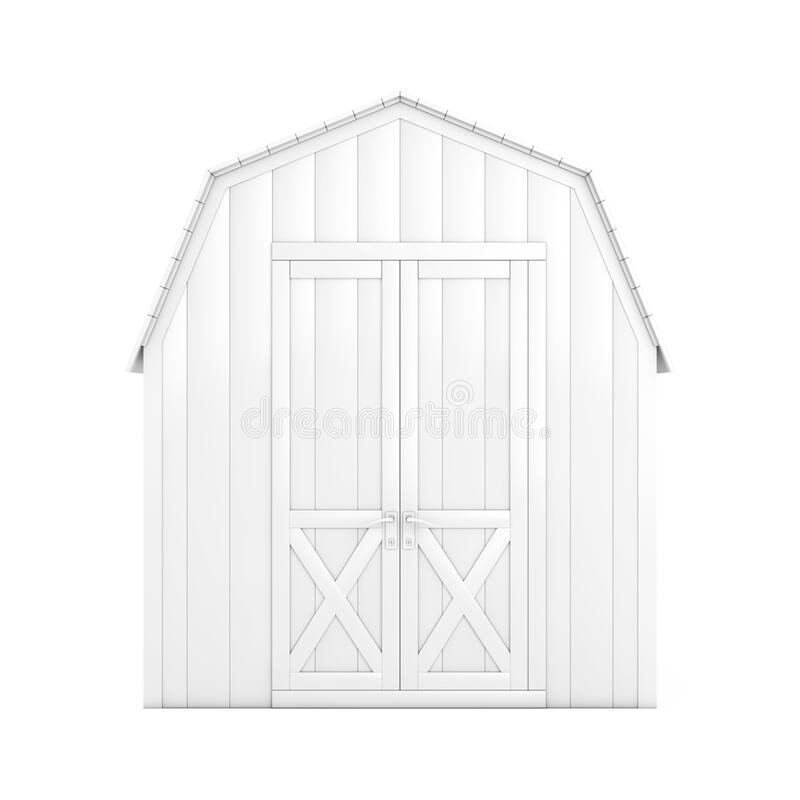 White Wood Small House Cabin Storage Shed for Garden Tools in Clay Style. 3d Rendering. White Wood Small House Cabin Storage Shed for Garden Tools in Clay Style stock illustration