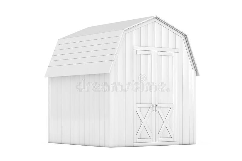 White Wood Small House Cabin Storage Shed for Garden Tools in Clay Style. 3d Rendering. White Wood Small House Cabin Storage Shed for Garden Tools in Clay Style vector illustration