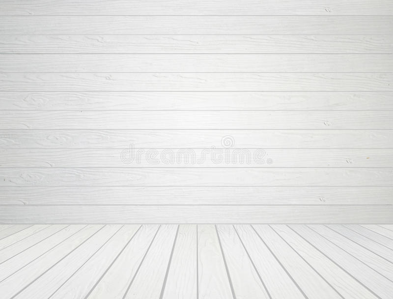White wood wall and wood floor background stock photography