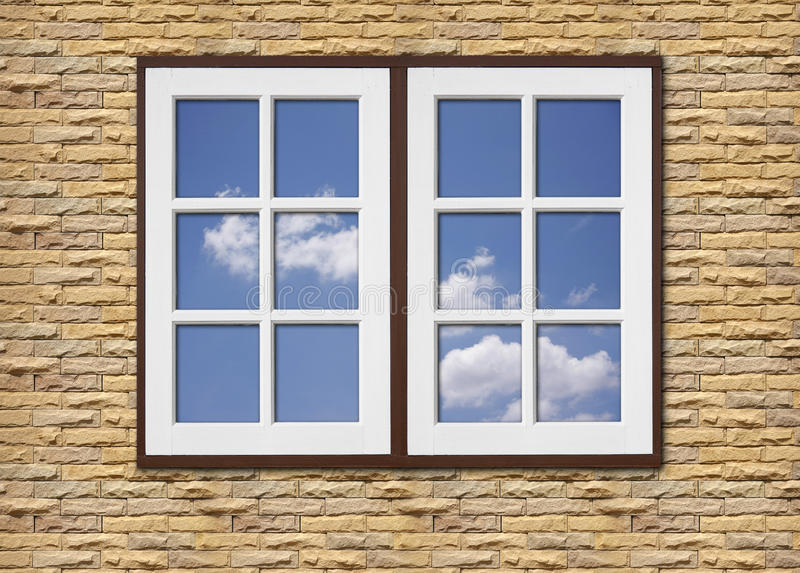 Download White Wood Window On Stone Walls Royalty Free Stock Photo - Image: 32532085